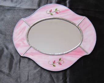 Stained glass accent Mirror. Pink glass with Hand-painted Fired Enamel rosebuds. 9 by 7 inches. FREE SHIPPING