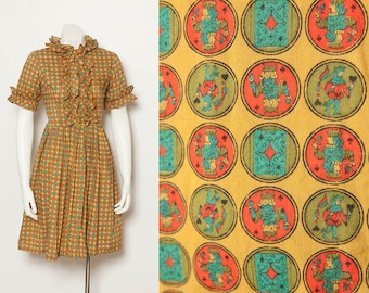 vintage 1950s novelty print dress Kings and Queens