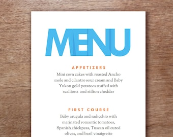 Modern Blue Type Printable Menu Template - Wedding Menu - Printable Menu Template - Menu Template - Menu Cards - Printable Menu PDF