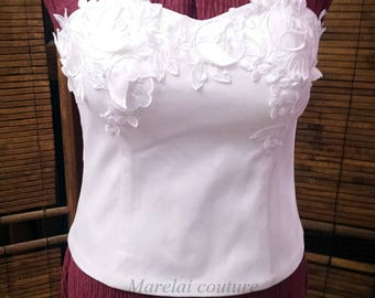 White wedding corset with organza and satin flowers. For two-piece wedding dress.