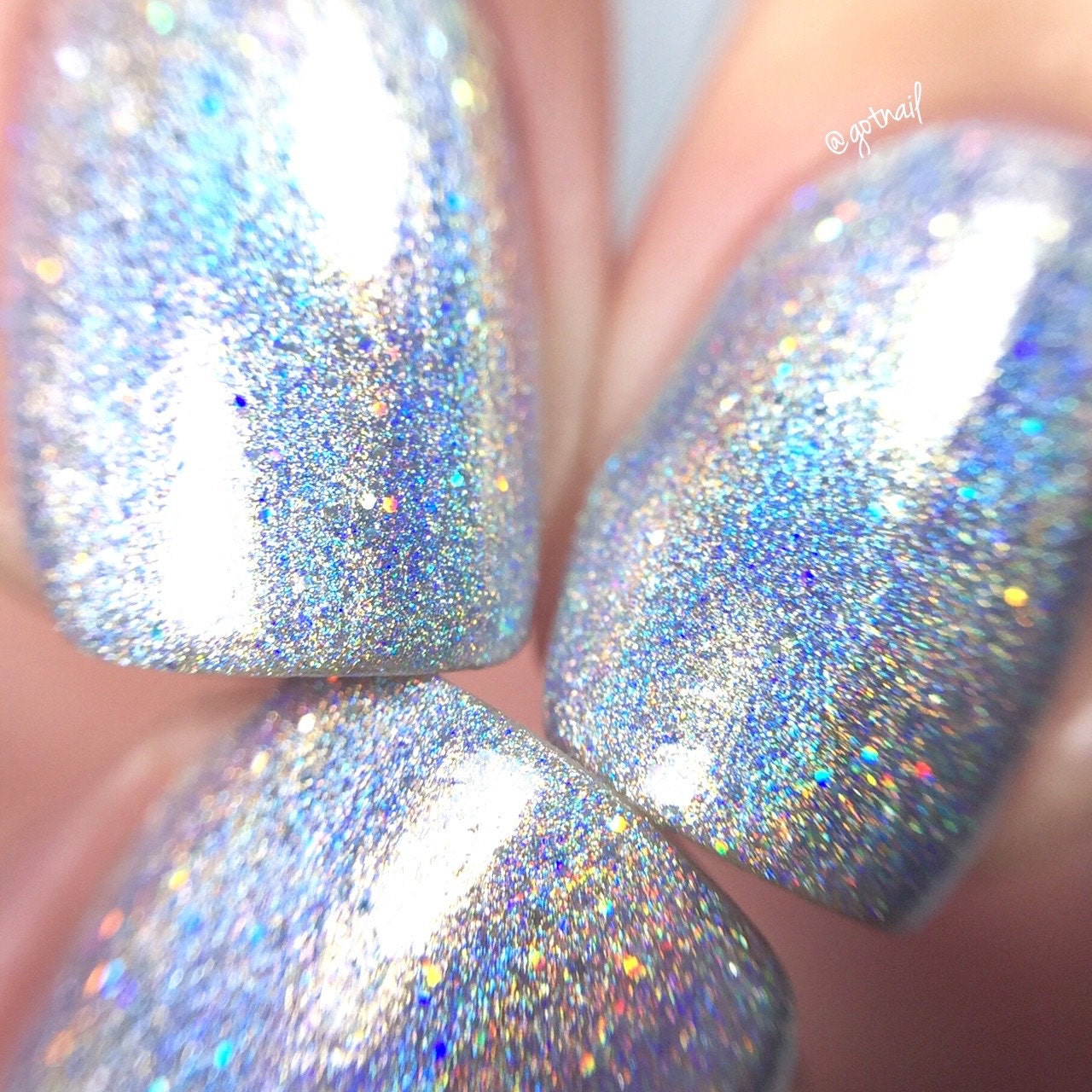 100% Holographic Chasing Rainbows Rainbow Glitter Nail