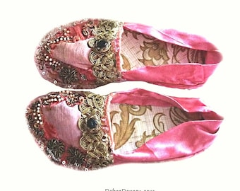 Decorative Handmade Shoes, Textile Art, Antique Embroidery, Beaded, Vintage Embroidery, Hand Crafted, Home Decor, Eclectic Decor,