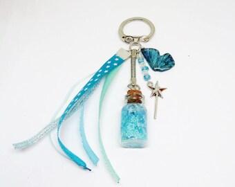 Porte clef / Bijou de sac féerique bleu