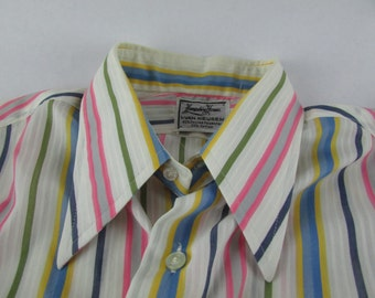 Vintage Hampshire House Van Heusen Pointy Collar Candy Striped Shirt 15.5 33 Disco 1970's Retro Mod Halloween!  Groovy - Free Ship To US