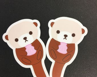 2x Sea Otter Stickers