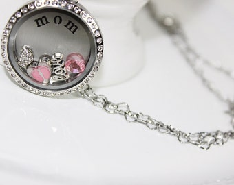 New Mother Gift, New Mom Floating Locket Necklace Mothers Day Gift, Mother Gift Its A Girl Gift, Mother Birthday Gift, Mom Christmas Gift