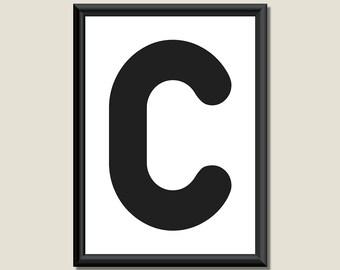 Typography DIGITAL PRINT Monogram Initial Wall Art Zarista Letter C 5x7