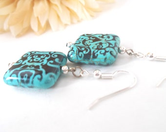 Turquoise Earrings, Birthday Gift for Her December Birthstone Earrings, Bohemian Earrings French Blue Earrings Gardening Gift for Girlfriend