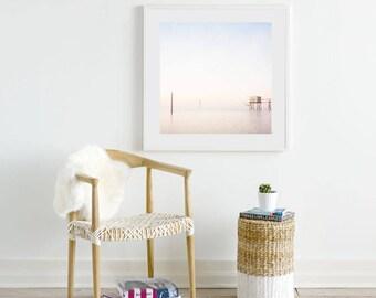 Coastal Art Print, Beach Wall Art, Beach House Decor, French Fishing Hut, Living Room Art