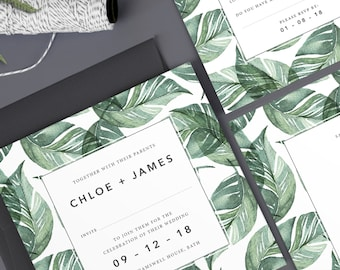 Chloe wedding invitation collection - Green