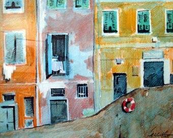 Manarola, Italy, watercolor, pencil, drawing, painting, wall art
