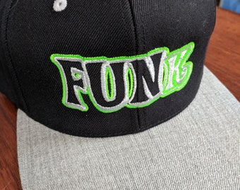 LIMITED EDITION metallic Black and Grey FUNk snap back! Direct embroidery