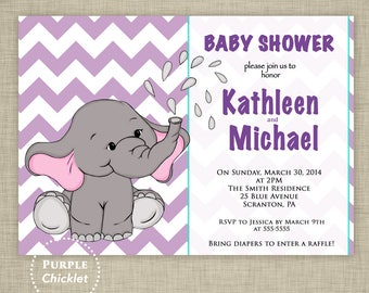 Elephant Shower Invitation 1st Birthday Invite Our Little Peanut Invite Purple Turquoise Chevron Printable JPEG file (28a)