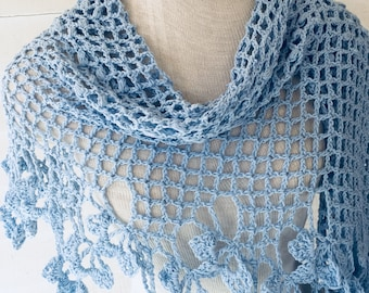 Light Blue Baby Blue Lightweight Recycled Cotton Flower Border Shawl Scarf