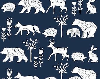 Monaluna Simple Life Organic Fabric - Nature Walk Poplin - Organic Quilting Cotton - Organic Baby Fabric - Woodland Camping Fabric