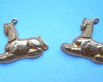 2 Vintage Egyptian Brass Stampings