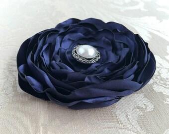 Navy Blue Flower Hair Clip.Navy Blue Flower Brooch.Navy Pin.Headpiece.Bridesmaid.Hair Piece.Satin Flower.hair accessory.wedding.flower girl