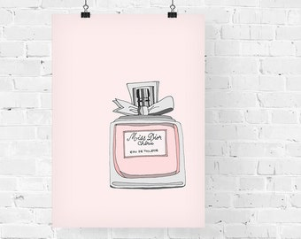 Miss Dior Cherie Perfume Fashion Illustration Art Print