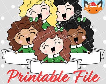 Christmas Banner Girls (DIGITAL DOWNLOAD) - Printable/Clipart File - Personal Use Only