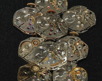 Vintage Watch Movements Parts Steampunk Altered Art Assemblage RT 36