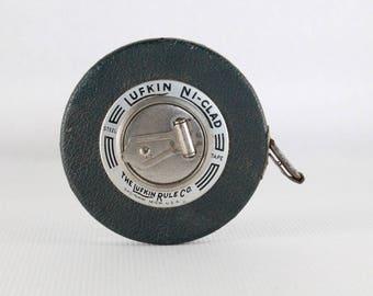 Lufkin Ni Clad Vintage Measuring Tape Gift For Dad Steel 50 Foot Royal 1950s