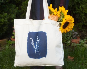 Botanical Thyme Print Cotton Canvas Tote Bag, Plant bag, botanical print, shoulder bag, botanical bag, gift for her, reusable bag