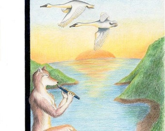 Swan Song Revisited - Original  Colored Pencil
