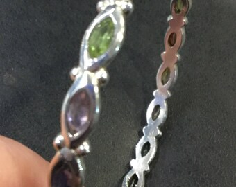 Silver gemstone slave  bangle