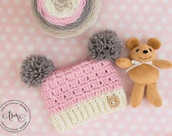 PDF Crochet Pattern - Dusty Rose Sack Hat Sizes Preemie to 3-5 Years