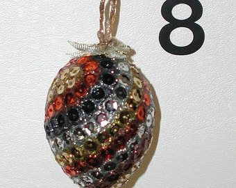 Real Eggs Ornaments, Original Hand Blown Eggs for your Christmas Tree or Easter Tree, Easter Egg Ornament, Sequins Eggs