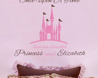 Princess Wall Decal - Princess Castle Personalized With Baby Name for Baby Girl Nursery or Girls Room Vinyl Wall Decal GN040