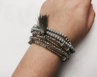Grey tree of life crystal bead tassel bracelet