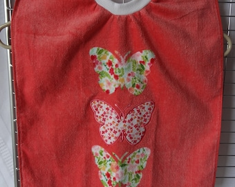 Baby Toddler Pullover Bib - 100% Cotton, Coral Butterflies, Embroidered