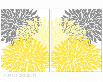 Yellow Gray Dahlia Flower Burst Wall Art Prints Baby Decor Bedroom Bathroom Livingroom Kitchen Home Art Botanical Wall Art 200a