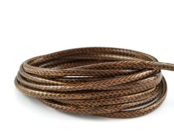 Brown waxed cord 3mm polyester