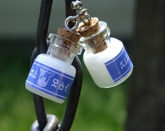 Miniature Legend of Zelda Lon Lon Milk Bottle Earrings