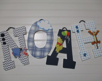 "NOAH - 12.00 PER LETTER 9"" wooden letters, winnie the pooh, tigger, eeyore, piglet, christopher robin, kanga roo"