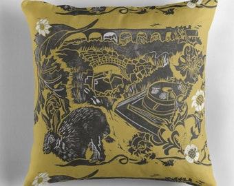 Tamar Tales, (calstock print in mustard) cushion cover