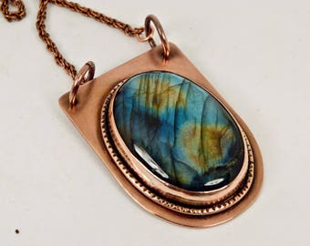 Labradorite necklace, February birthstone, March birthstone, hand forged, gemstone necklace, statement necklace,copper jewelry,gift for wife