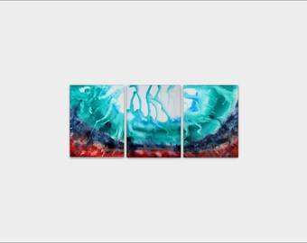 Sale! Abstract Canvas Art - abstract acrylic painting, 3 piece canvas art, abstract art painting, ORIGINAL ART PAINTING 3 panel wall art