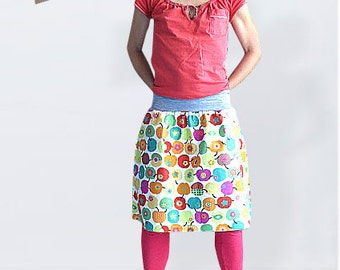 Knee length cotton skirt with apples, midi skirt, a line skirt, flared skirt, short skirt, summer skirt, printed skirt