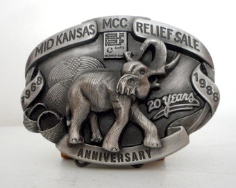 Mid Kansas Relief Sale Belt Buckle Elephant 1988 Mennonite Selfhelp Crafts Siskiyou