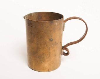 Antique, vintage brass bronze measuring cup, pitcher, jug 200 ml