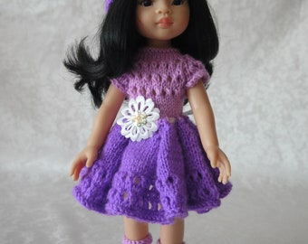 Dress, Hat, Вoots for doll Paola Reina 32 cm handmade Knitted