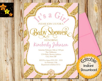 """Baby Shower Invitation, Girl, Pink and Gold, Diagonal Stripes, INSTANT download, EDITABLE in Adobe Reader, DIY, Printable, 5""""x7"""""""