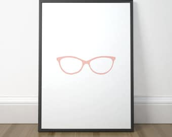 Gallery Wall Decor, Modern Printable Decor, Glasses Art, Printable Scandinavian Art, Minimalist Art Print, Instant Download, Digital Print