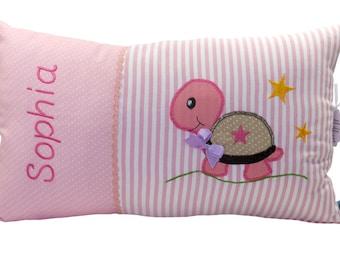 Personalisiertes Namenskissen, Kissen, Geburt, Taufe, mit Motiv Schildkröte, rosa, aus Baumwollstoff, ein tolles Kuschelkissen, für Mädchen.