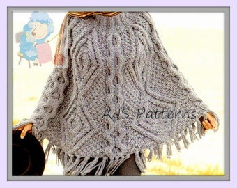 PDF Knitting Pattern for a Chunky Knit Cabled Poncho - Instant Download