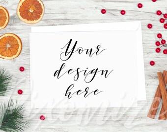 Horizontal Christmas Mockup, Card Mock Up Photo, Rustic Christmas Card Mockup, Landscape Card Template, Styled Stock Photography