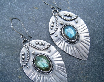 Labradorite and Sterling Silver Dangle Drop Earrings - peacock feather style blue green flash bold earrings, tribal, ethnic, oxidized silver